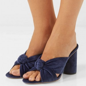Navy Mule Heels Peep Toe Block Heels Sandals