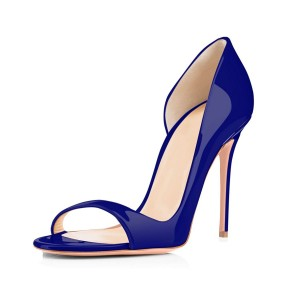 Navy Open Toe Stiletto Heels Pumps Office Shoes