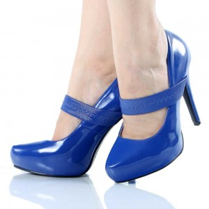 Blue Patent Leather Mary Jane Shoes Almond Toe Stiletto Heels Pumps