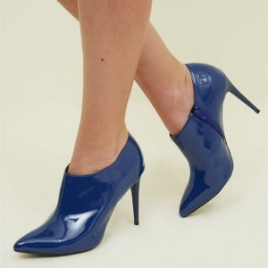 Navy Patent Leather Stiletto Heel Ankle booties