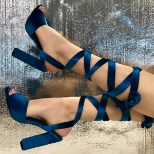 Navy Blue Sandals Peep Toe Chunky Heels Strappy Sandals for Women
