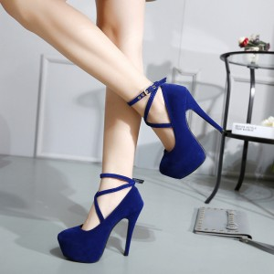 Navy Platform Heels Cross-over Strap Suede Stiletto Heels Pumps