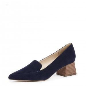 Navy Pointed Toe Suede Loafers for Women Block Heels Shoes