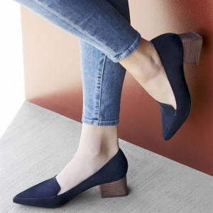 Navy Pointy Toe Block Heel Loafers for Women