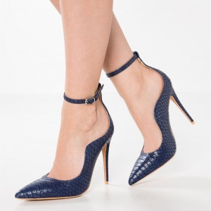 Navy Python Ankle Strap Heels Pointy Toe Stiletto Heel Pumps
