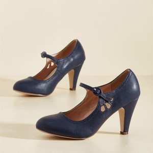 Navy Retro Mary Jane Heels Cone Heels Vintage Shoes