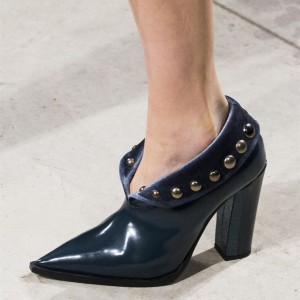 Navy Rivets Square Toe Chunky Heel Pumps