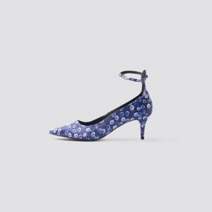Navy Satin Floral Ankle Strap Heels Pumps