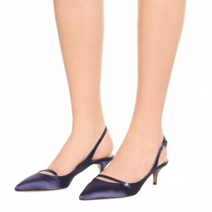Navy Satin Kitten Heels Pointy Toe Slingback Pumps