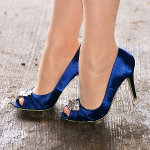 Navy Satin Peep Toe Crystal Stliletto Heels Wedding Pumps