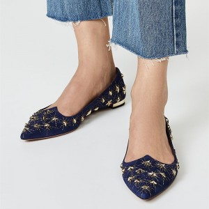 Navy Stars Studed Pointy Toe Comfortable Flats