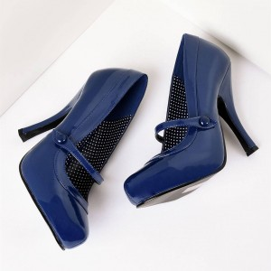 Navy Patent Leather Stiletto Heels Mary Jane Heels Vintage Shoes