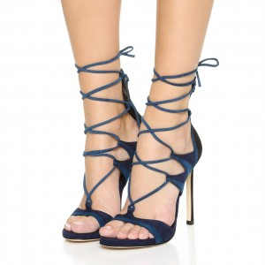 Navy Strappy Sandals Lace up Open Toe Suede Stiletto Heels