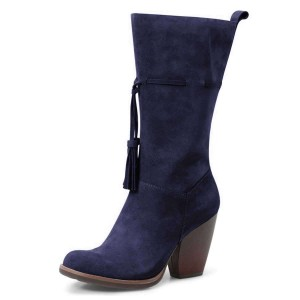 Navy Suede Boots Tassel Chunky Heel Mid Calf Boots