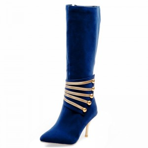 Navy Suede Golden Stiletto Boots 3 Inch heels Mid-Calf Boots by FSJ