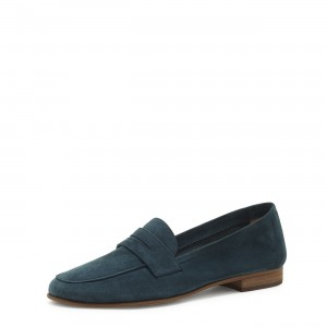 Navy Suede Round Toe Loafers for Women