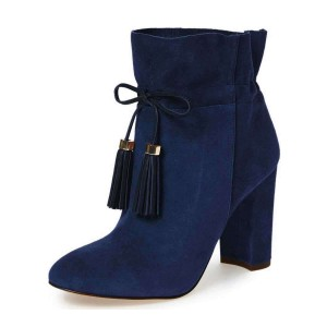 Navy Suede Tassel Chunky Heel boots Ankle Boots