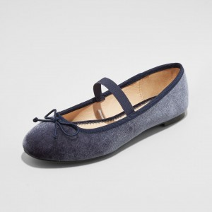 Navy Velvet Mary Jane Shoes Round Toe Flats Elastic Ballet Shoes