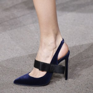 Navy Velvet Pointy Toe Bow Heels Slingback Mary Jane Pumps