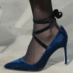 Navy Velvet Strappy Heels Stiletto Heel Pumps