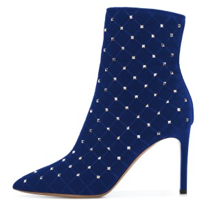 Navy Velvet Studded Boots Stiletto Heel Ankle Booties