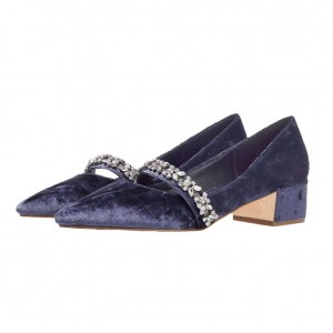 Navy Vintage Heels Pointy Toe Rhinestone Shoes Block Heel Pumps
