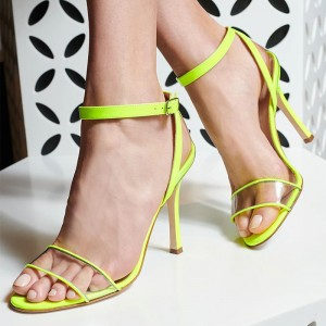 Neon Yellow Clear PVC Stiletto Heel Ankle Strap Sandals