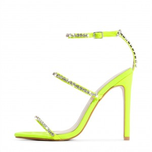 Neon Yellow Rhinestone Tri Straps Stiletto Heel Ankle Strap Sandals