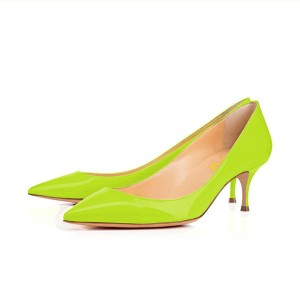 Neon Kitten Heels Patent Leather Pointy Toe Pumps by FSJ