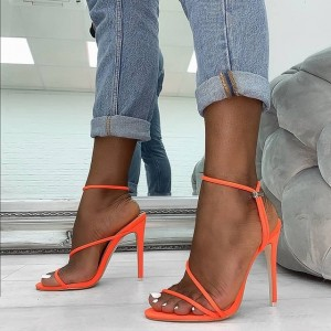 Orange Stiletto Heels Sandals