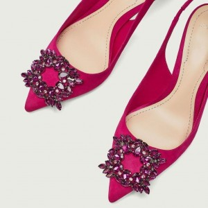 Magenta Pointed toe Crystal Slingback Kitten Heels Pumps