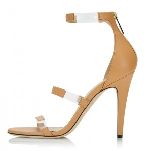 Khaki Clear Heels PVC Three Strap Open Toe Ankle Strap Sandals
