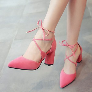 Pink Lace up Heels Suede Chunky Heel Closed Toe Sandals