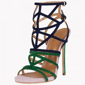 Women's Green And Navy Platform Stiletto Heel Strappy Sandals