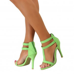 Women's Mint Green Stiletto Heels T Strap Sandals