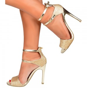 Women's Golden Glitter Ankle Strap Sandals Peep Toe Stiletto Heels