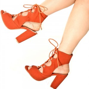 Women's Orange Chunky Heel Slingback Lace Up Sandals