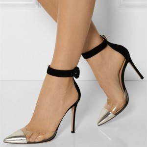 Black and Silver Clear Heels Ankle Strap Pointy Toe Stiletto Heels
