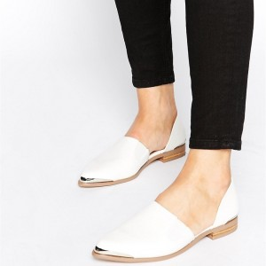 Women's Ivory Pointy Toe Comfortable Flats