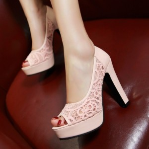Pink Lace Heels Platform Peep Toe Chunky Heel Pumps for Wedding