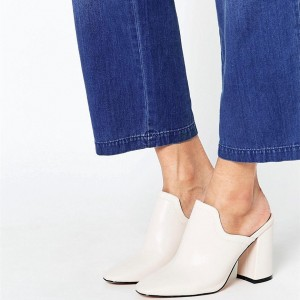 Ivory Mule Heels Closed Toe Block Heels Loafer Mules US Size 3-15