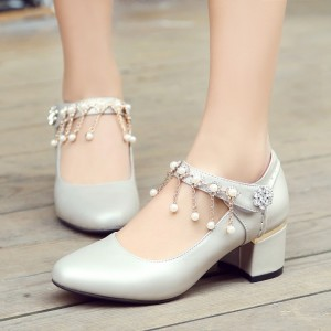 Women's White Chunky Heel Mary Jane Shoes Round Toe Pearl Vintage Shoes
