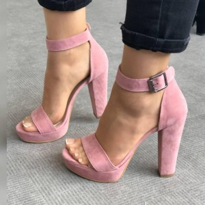 Women's Pink Suede Platform Chunky Heels Ankle Strap Sandals