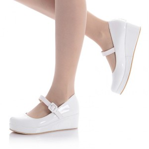Women's White Patent Leather Wedge Heels Mary Jane Pumps