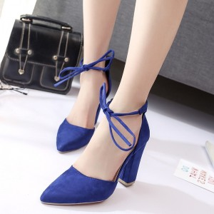 Women's Deep Blue Suede Ankle Strap Chunky Heels Pumps