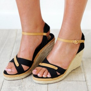 Black and Khaki Wedge Sandals Open Toe Platform Heels
