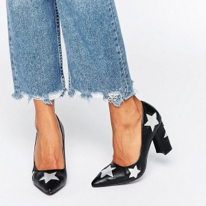 Women's Black Pointy Toe White Star Floral Chunky Heels Pumps