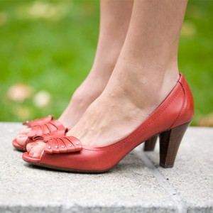 Women's Red Peep Toe Bow Chunky Heels Pumps
