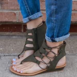 Women's Green Lace up Flats Gladiator Sandals