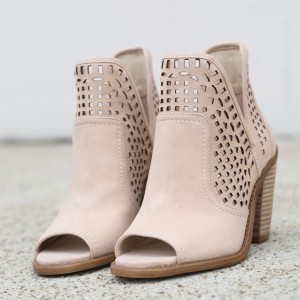 Nude Cut Out Open Toe Boots Wooden Chunky Heel Ankle Boots